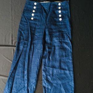 100% linen dark blue wide leg pants